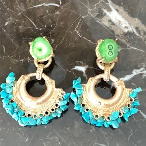 Green & blue stone earrings